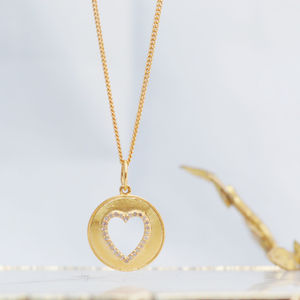 Diamond Set Gold Heart Disc Necklace - 30th birthday gifts