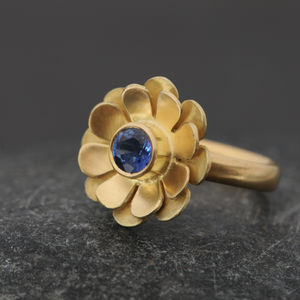 Blue Sapphire Flower Ring - birthstone jewellery gifts
