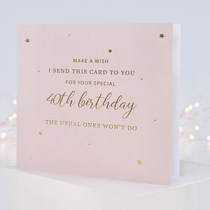 Make A Wish 40th Birthday Card