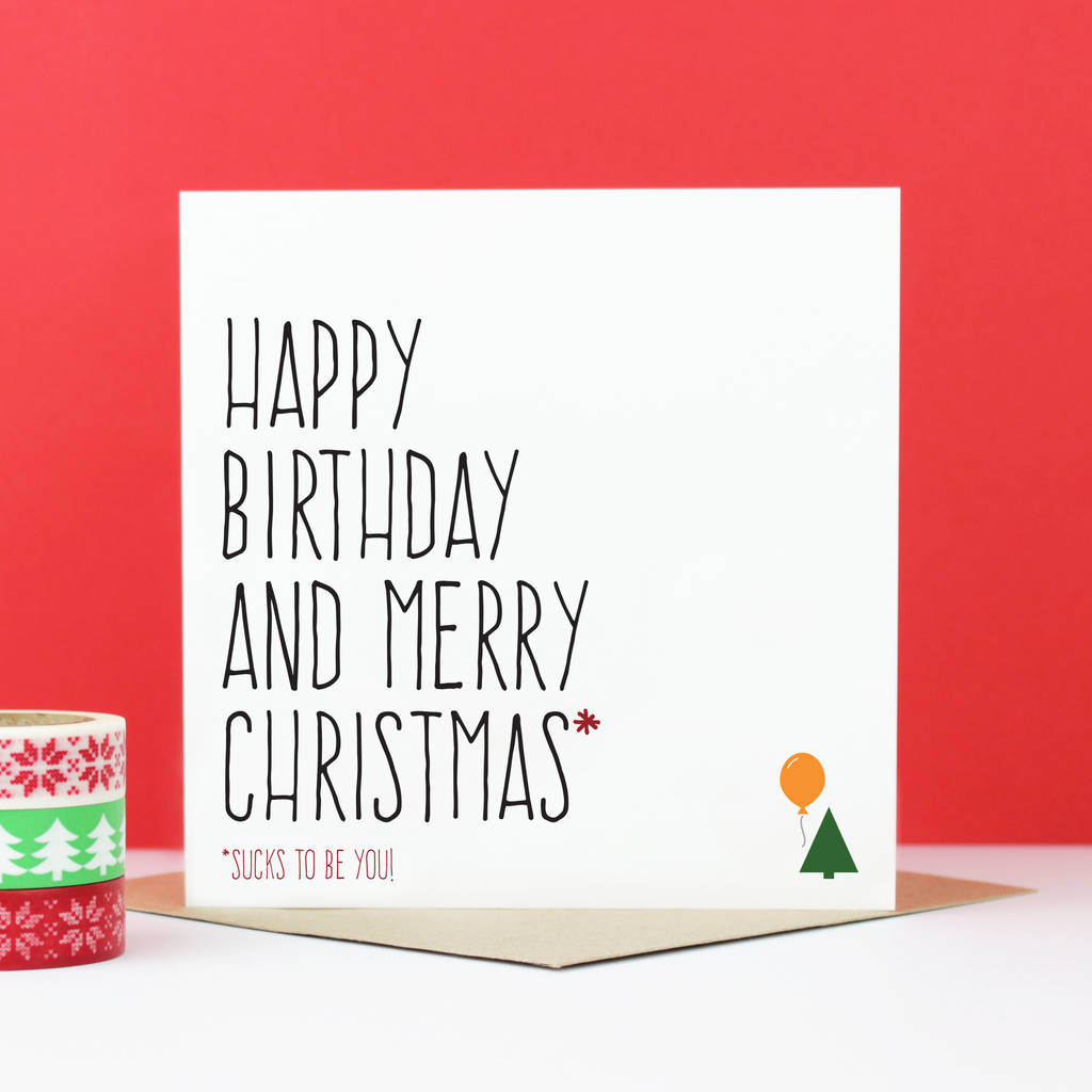 happy birthday and merry christmas card