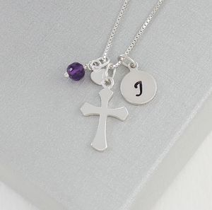 Personalised Silver Cross With Birthstones