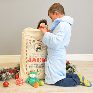 Personalised Christmas Postcard Sack - stockings & sacks