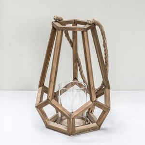 Large Wooden Geometric Candle Holder - home accessories