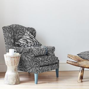 Screen Printed Bondi Leaf Pattern Wing Back Chair - furniture