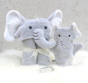 Personalised Humphrey Elephant Baby Towel Gift Set - towels & bath mats