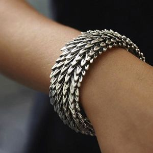 Chunky Metal Feather Bracelet - summer sale