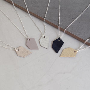 Geometric Odd Shape Leather Pendant Necklace - necklaces & pendants