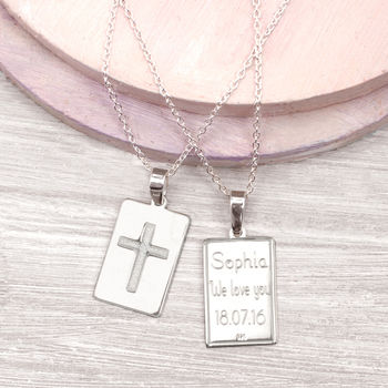 Personalised Sterling Silver Christening Pendant