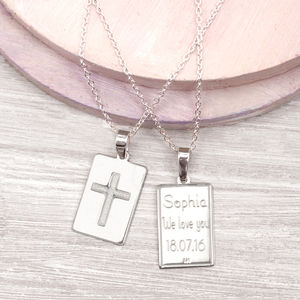 Girls Personalised Sterling Silver Christening Necklace - children's jewellery