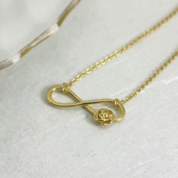 Small Gold Infinity Necklace With Tiny Rose
