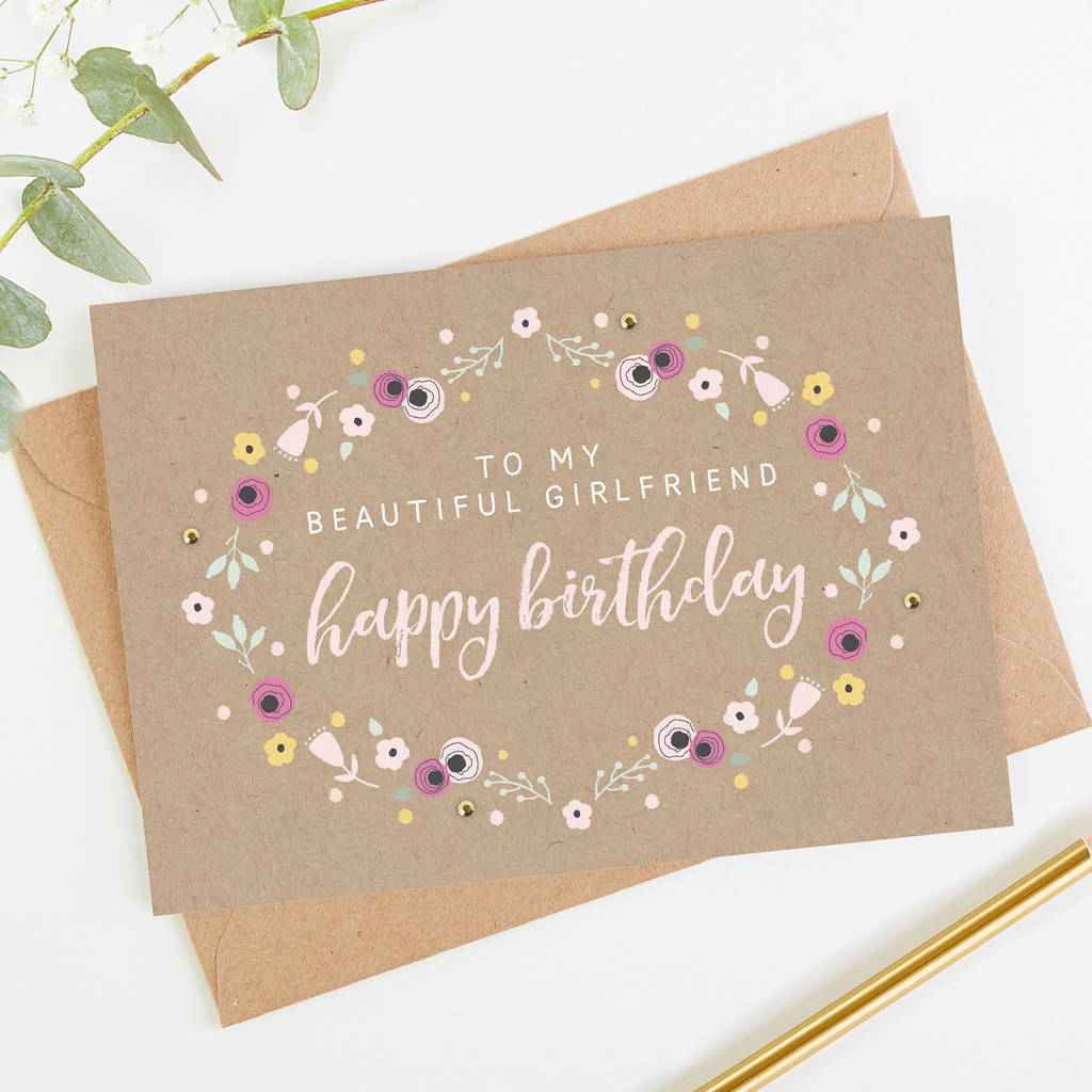 Girlfriend Birthday Card Kraft Floral By Norma&dorothy