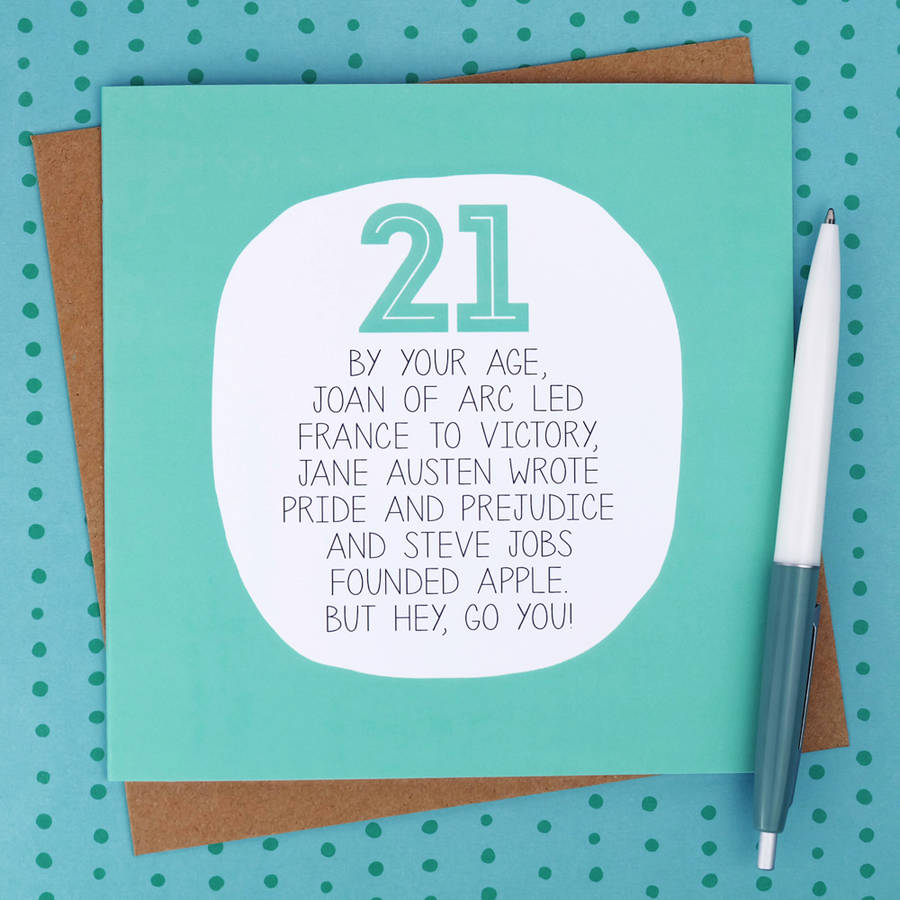 By Your Age Funny 21st Birthday Card Paper Plane