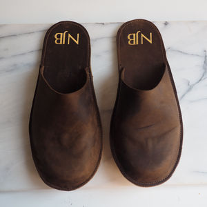 Personalised Handmade Men's Leather Slippers - gifts for him