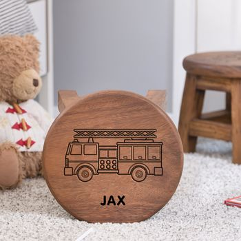 Fire Engine Themed Wooden Stool Personalised