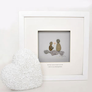 'Amazing Mum' Personalised Pebble Artwork - mixed media & collage