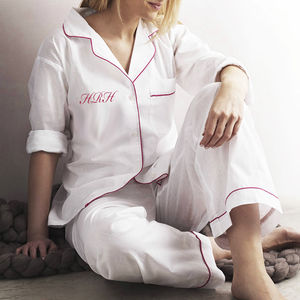 Personalised Women's White And Pink Cotton Pyjama's - for brides