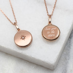 Diamond Set 18ct Rose Gold Vermeil Personalised Locket