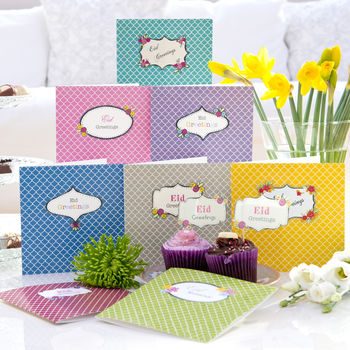 Set Of Eight Eid Mubarak Greetings Cards Casablanca