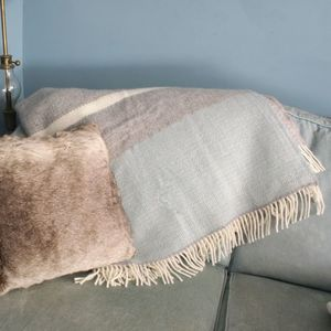 Duck Egg Blue And Cream Throw - bedding & accessories