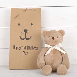 Teddy Bear With Personalised Bear Face Gift Bag - soft toys & dolls