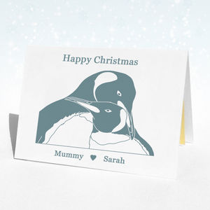 Personalisable Christmas Penguin Christmas Card