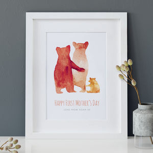 Personalised First Mother's Day Bear Family Print - posters & prints