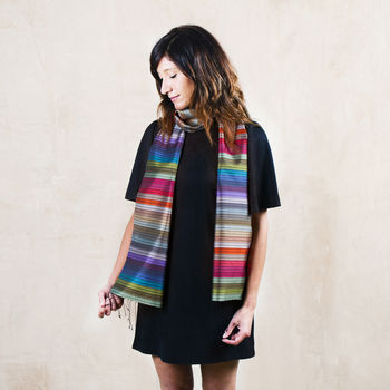 Rainbow Scarf, Handwoven In Fine Silk