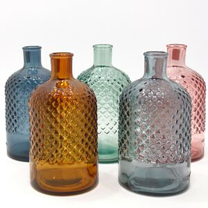 Recycled Glass Bottle Vase | 22cm Diamond | Six Colours