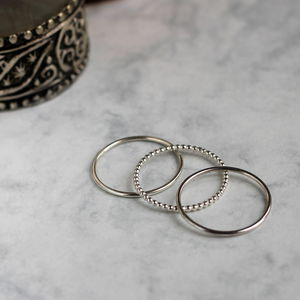 Dot And Smooth Stacking Ring Set Silver