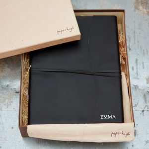 Antara Soft Black Leather Photo Album - living & decorating