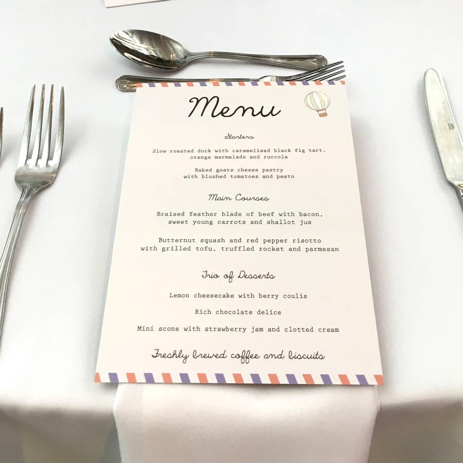 Wedding Reception Food Menu