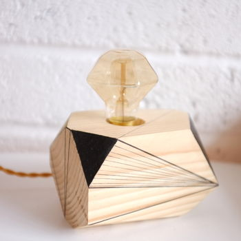 Geometric Wooden Table Lamp With Edison Light Bulb