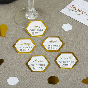 Marble And Gold Wedding Drink Tokens - new in wedding styling
