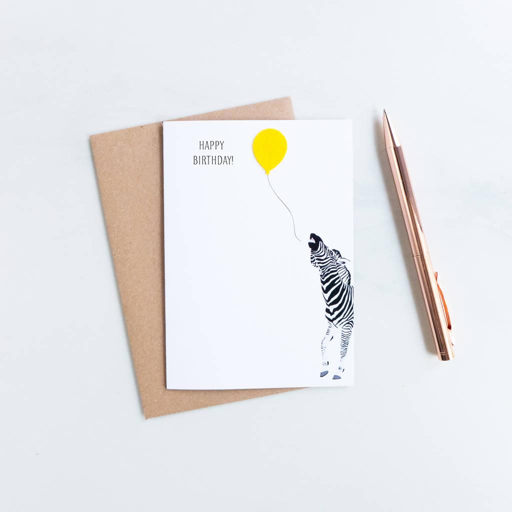 Party Zebra Felt Birthday Card By Hello Geronimo