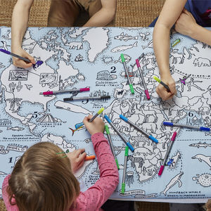 World Map Tablecloth To Colour In, Pens Included - dining room