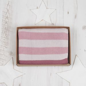 Baby Girls Striped Pink Blanket