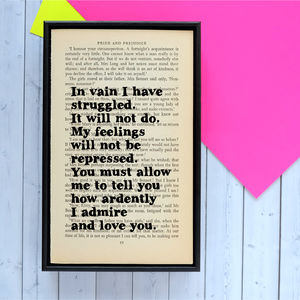 Framed Pride And Prejudice Book Page - for him
