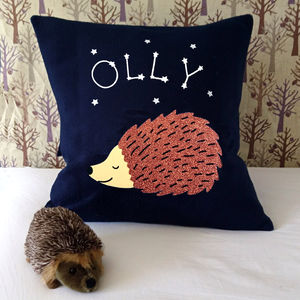 Sleeping Hedgehog Personalised Woodland Cushion