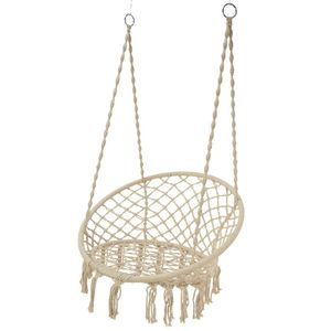 Cream Macrame Hanging Chair - furniture