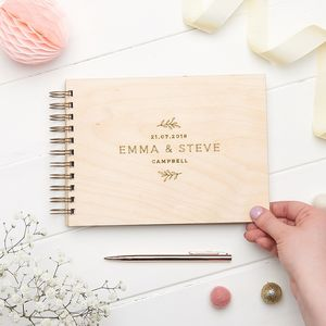 Personalised Wooden Nature Guest Book - albums & guest books