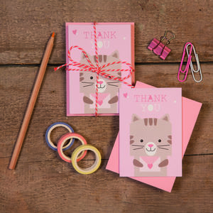 Children's Mini Thank You Cards Cat - thank you cards