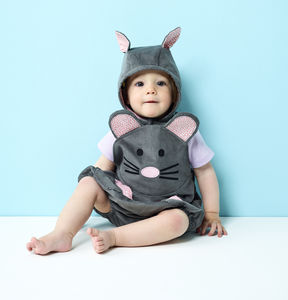 Baby Mouse Romper , Bonnet And Tights - children's dungarees