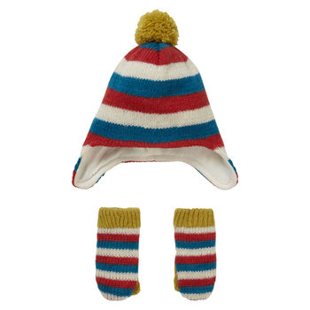 Knit Stripey Hat And Mitten Set