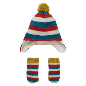 Knit Stripey Hat And Mitten Set - hats, scarves & gloves