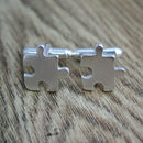 Jigsaw Cufflinks, Recycled Sterling Silver