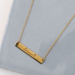 Gold Plated Loved Bar Necklace - jewellery for women