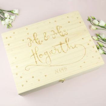 Personalised Engraved Wooden 'Mr And Mrs' Box