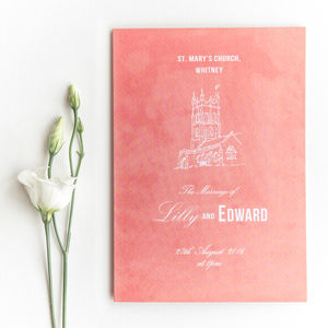 Traditional Style Order Of Service / Coral Pink