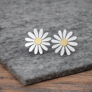 Aster Flower Earrings In Silver And 18ct Gold