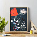 Red Flower On Blue Art Print